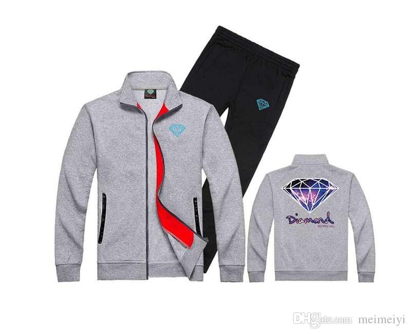 Frete grátis s-5xl nova chegada cor misturada de fornecimento de diamante com capuz + calça terno de inverno dos homens de lã com capuz 558