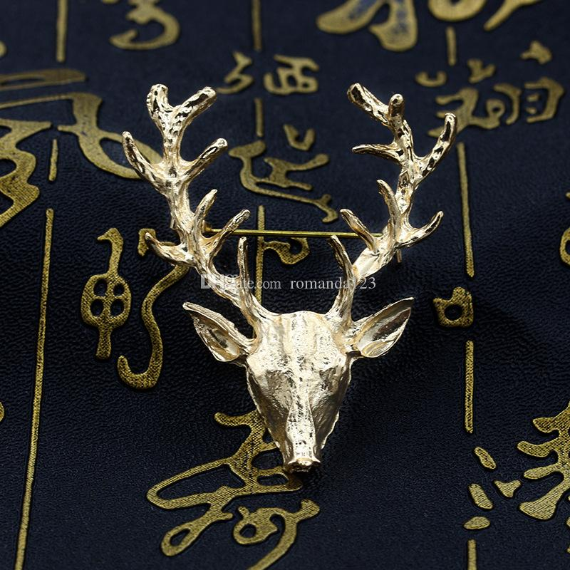 Unisex Animal Christmas Xmas Popular Cute Gold Plated Elk Deer Antlers Head Pin Brooches Styling Jewelry DHL