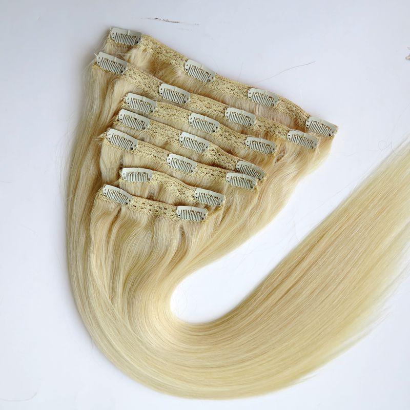 Clip in Hair Extensions Brazilian Human Hair 20 22inch 60#/Platinum Blonde Straight Hair Extensions 260g