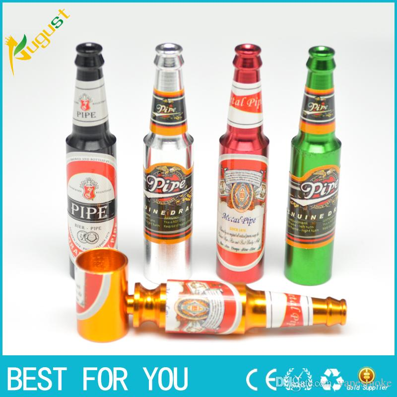 Kreatives Rauchzubehör Mini Rauchpfeife Metallpfeife Klein Beliebte Bierflaschen Muster Groß und Klein Pfeife Neu