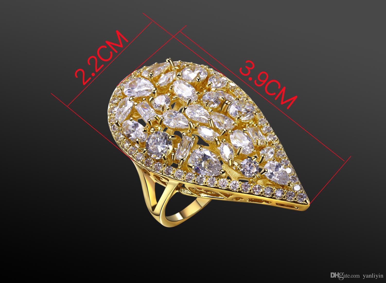 Belle bague beau! Big goutte d'eau Forme Gold Plaque Bague Paave Réglage Champagne CZ Rings