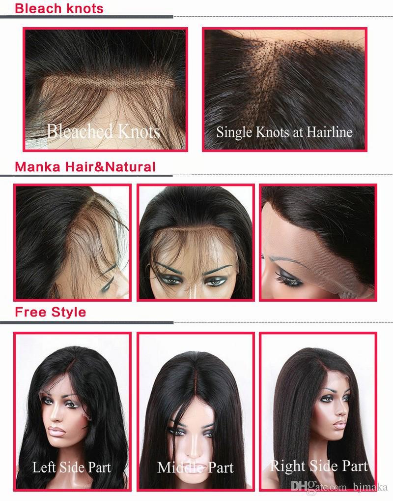 Peluca del cordón del pelo humano de Malasia de la densidad completa del grado 8A Peluca llena del cordón con el pelo del bebé natural rayita Peluca delantera del cordón Peluca sin cola