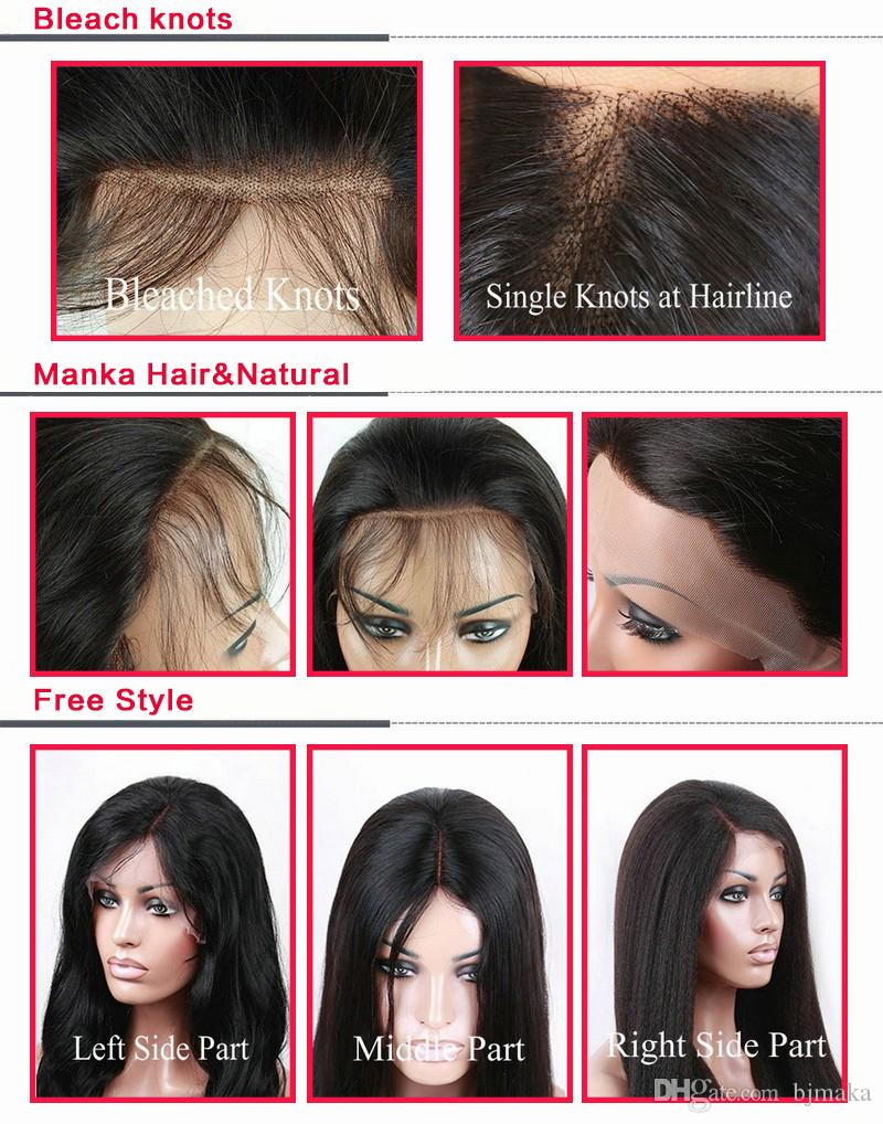 Top in seta stile libero Top completo pizzo / pizzo anteriore riccia brasiliana malese parrucca capelli umani migliori con i capelli del bambino le donne nere