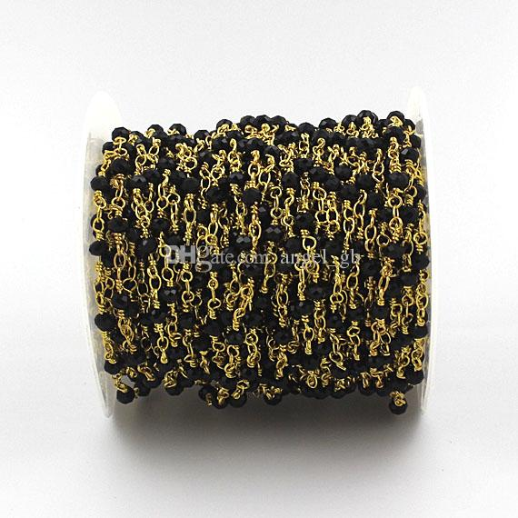 Catena di perline stile spinello nero all'ingrosso - Perline di spinello nero sfaccettato 4x3mm perline filo spinato