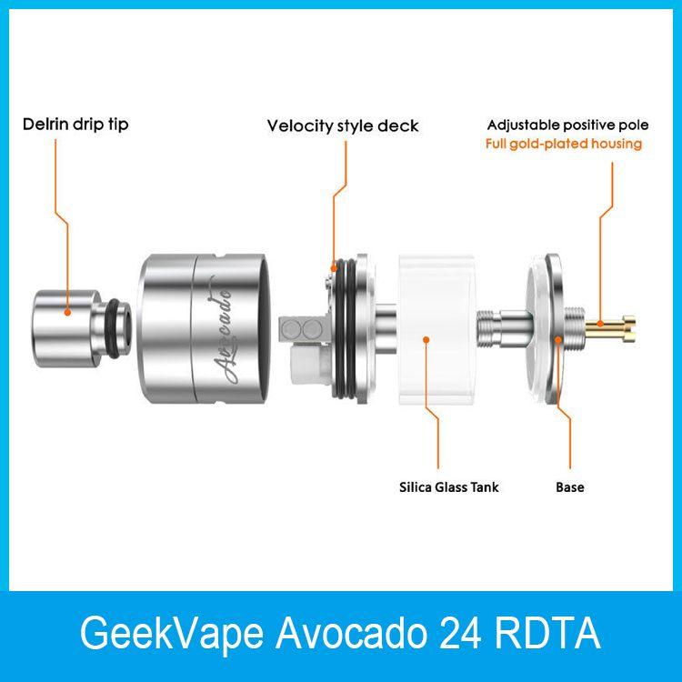 GeekVape Avocado 24 RDTA Atomizer 5ml Avocado 24 Tank with Velocity deck with Hinge lock fill system 100% Original