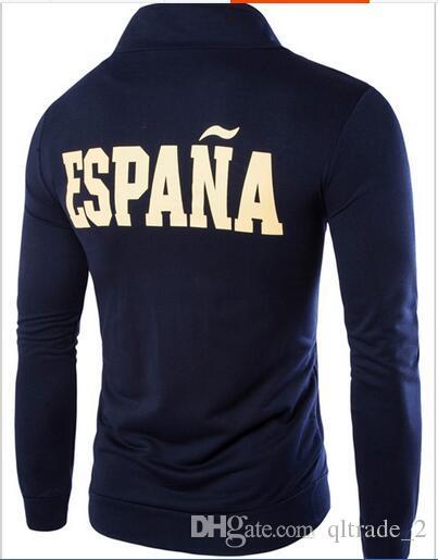 2016 Teen hoodies stand collar men's sports Sweatshirts coat German Spanish embroidery design sports hoodies