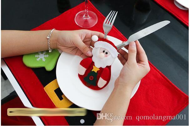 Articoli feste 13CMX15CM Decorazioni la tavola Pupazzo di neve Supporti posate Coltelli e sacchetti forche Decorazioni natalizie