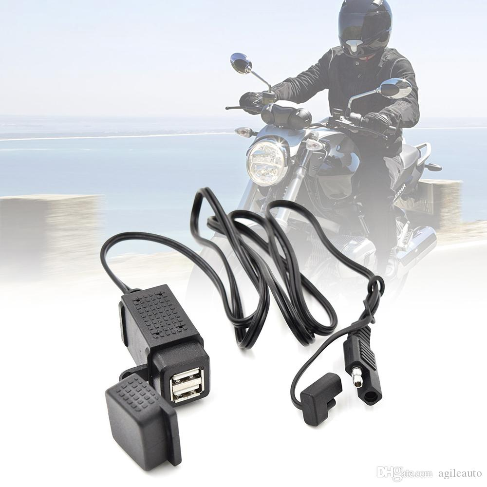 3.1A SAE Dual USB Cable Adapter Dual Port Power Socket Smart Phone Tablet GPS Charger for Motorcycle 12V-24V MOT_30Q
