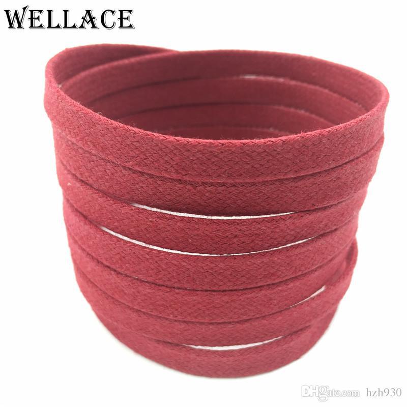 Wellace Marine Wachs Schnürsenkel farbige flache Mens kleiden Baumwolle Schnürsenkel dünn gewachst Saite für shoestrings 80cm sneaker Ersatz