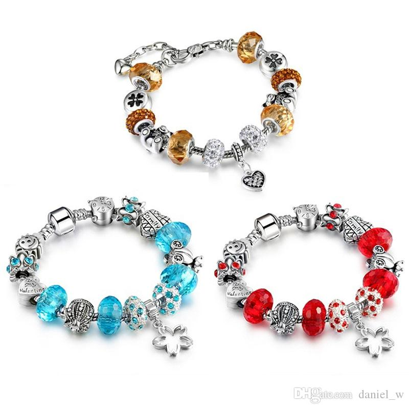 Diy Jewelry Crafts Crystal Beads Charm Bracelets For Women With