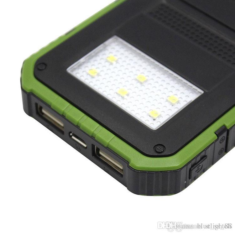 Retail Package 20000mAh Solar Powerbank Waterproof Solar with Six LED Camping Lights Solar charger power bank