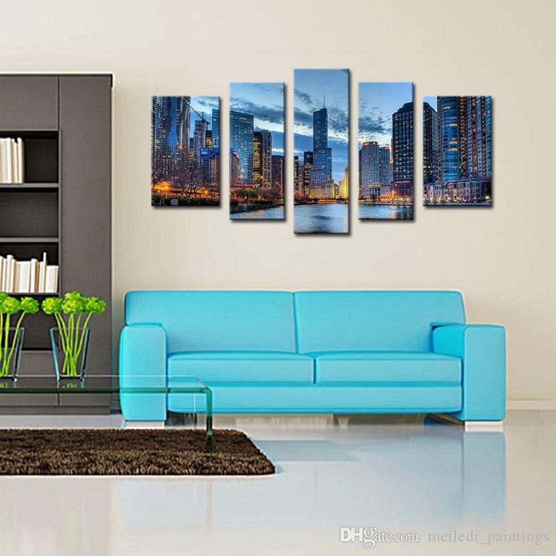 best quality 5 picture combinationwall art painting chicago illinois ...