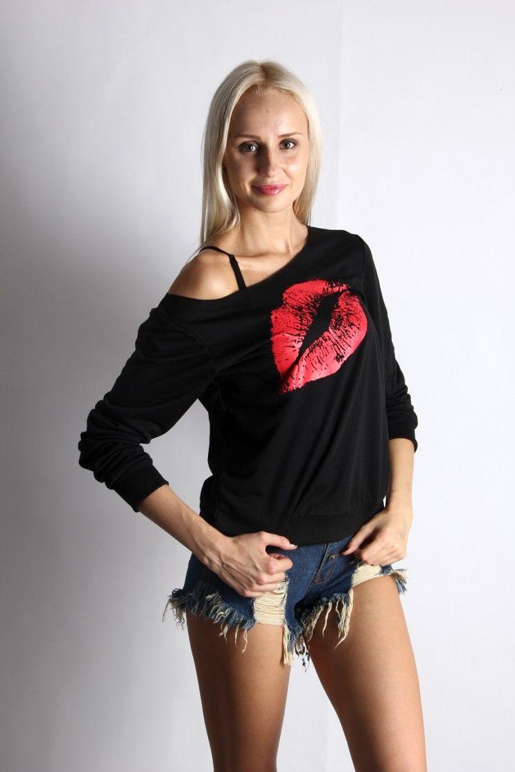 New Long-Sleeved Autumn Sweatshirt Red Lips Large Lips Sweatshirts Pattern Oblique Shoulder Sexy Ladies Blouse 1089