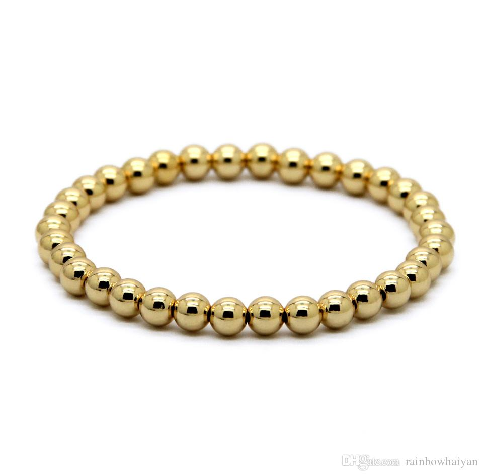 Hot Sale 6mm Natural Stone Beads Jewelry Real Gold Plated Round Copper Beads Men's Bracelets Best Gift