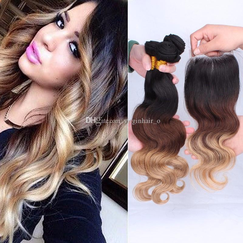 9a ombre hair extensions 1b427 honey blonde ombre human hair 9a ombre hair extensions 1b427 honey blonde ombre human hair 3pcs with lace closure three tone body wave hair weave pmusecretfo Image collections