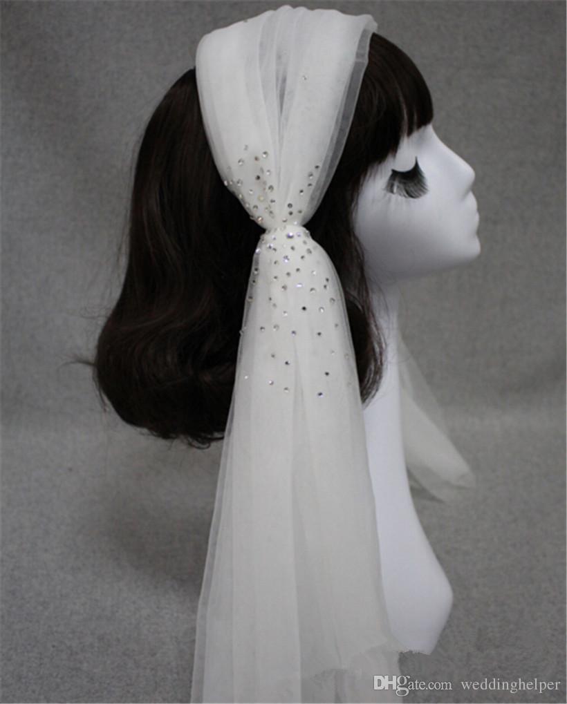 빈티지 웨딩 신부 흰색 베일 어깨 길이 헤어 클립 크리스탈 라인 석 베일 밴드 액세서리 티아라 머리띠