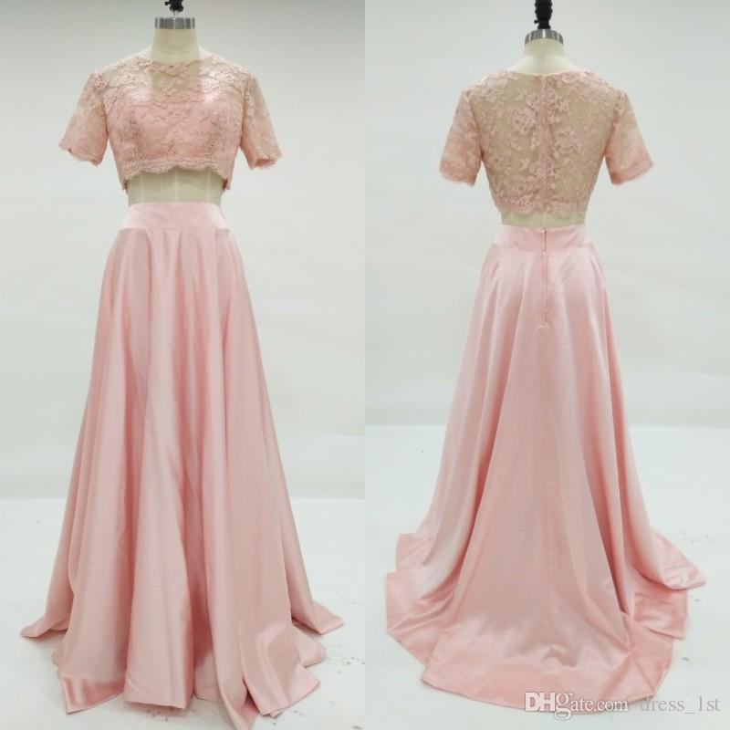 New Fashion 2017 Real Photo Peach Two Pieces Prom Dresses Long Cheap ...