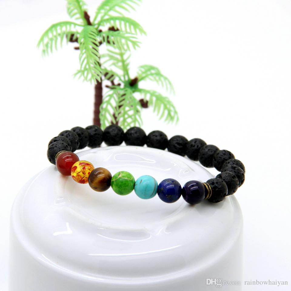Wholesale Best Quality Black Lava Stone Beads with Sediment, tiger eye stone Stretch women & Mens Energy Yoga Gift Bracelets