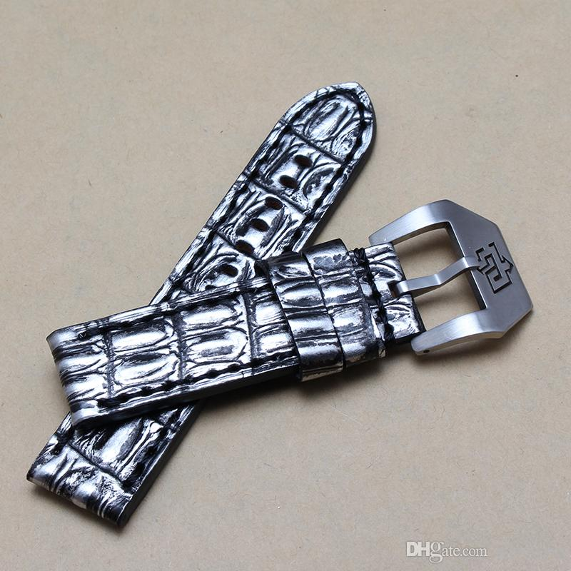 24/26 mm reloj de los hombres correa de cuero genuino correa de reloj de hebilla de plata para reloj mecánico automático caliente NUEVO