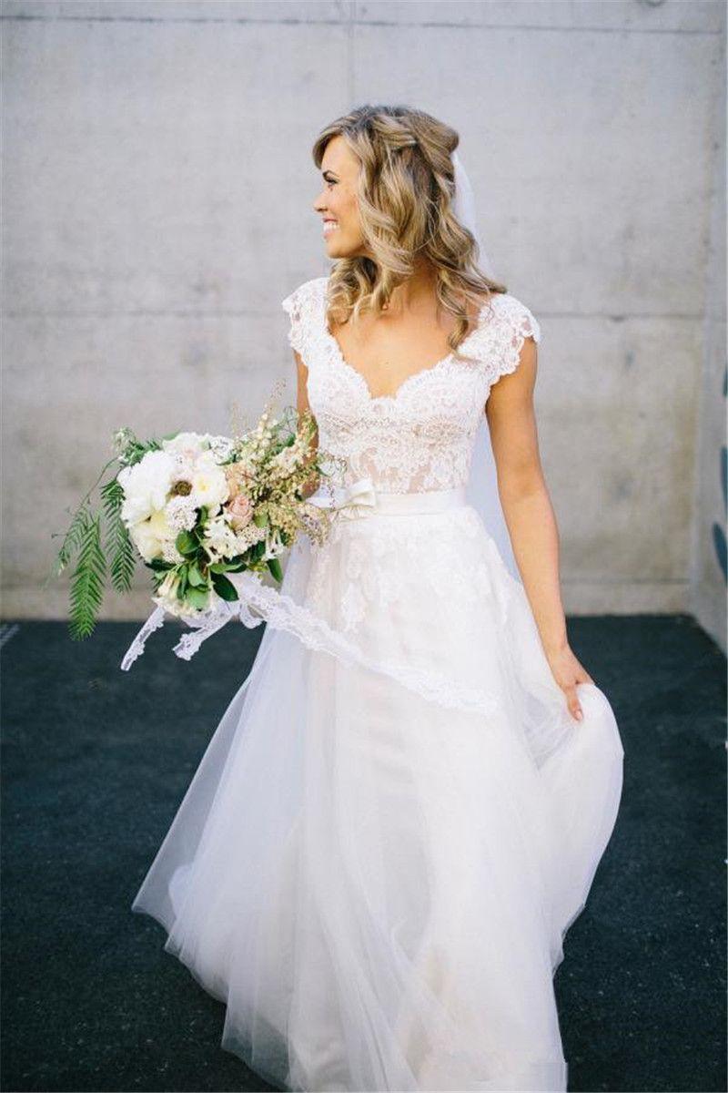 Bohemian vestido de casamento frete grátis 2019 V Neck Backless vestidos de casamento apliques de renda Boho Beach país vestidos de noiva barato