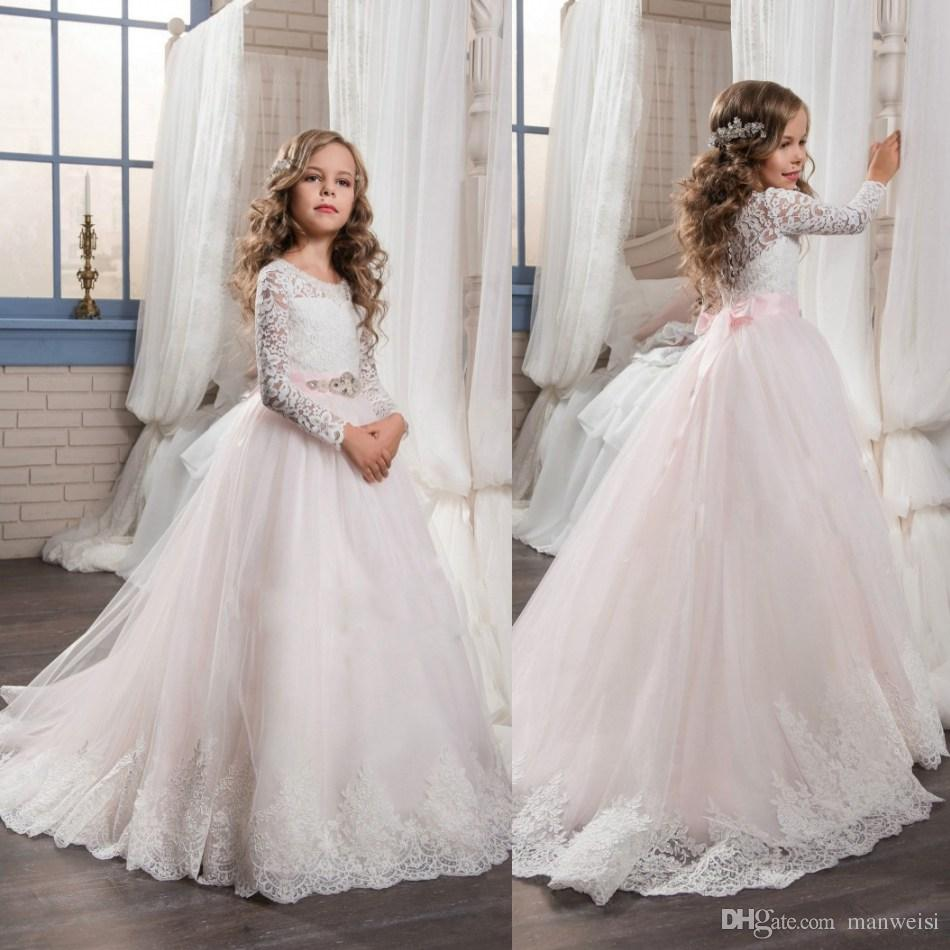 Princess Pink Tulle Flower Girls Dresses For Weddings Long Sleeve
