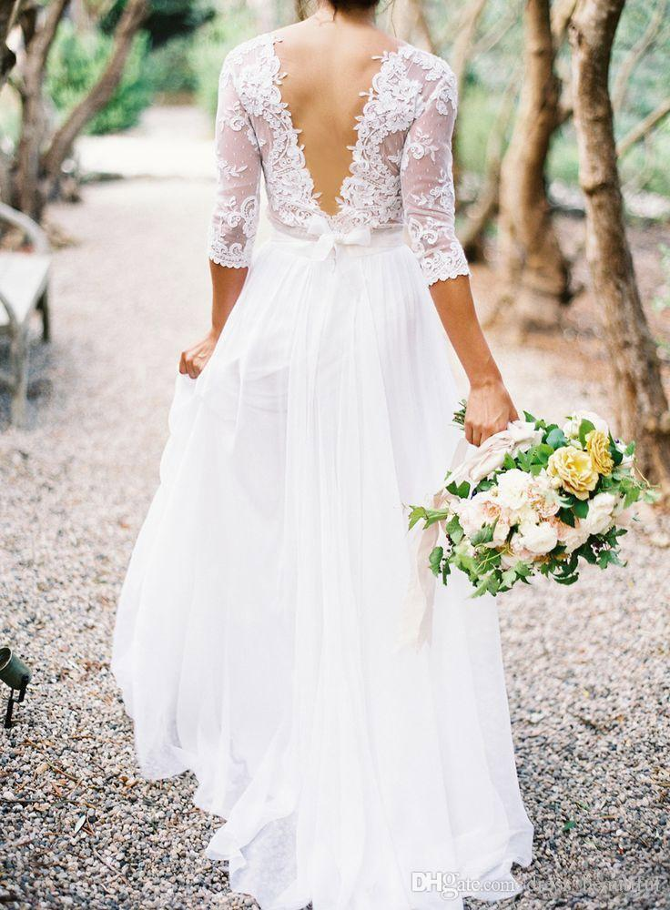 2017 Lace Wedding Dresses Bridal Gowns Chiffon V-neck 3/4 Long Sleeves Low Back A-line Sheer Plus Size Bridal Wedding Dresses With Pleats