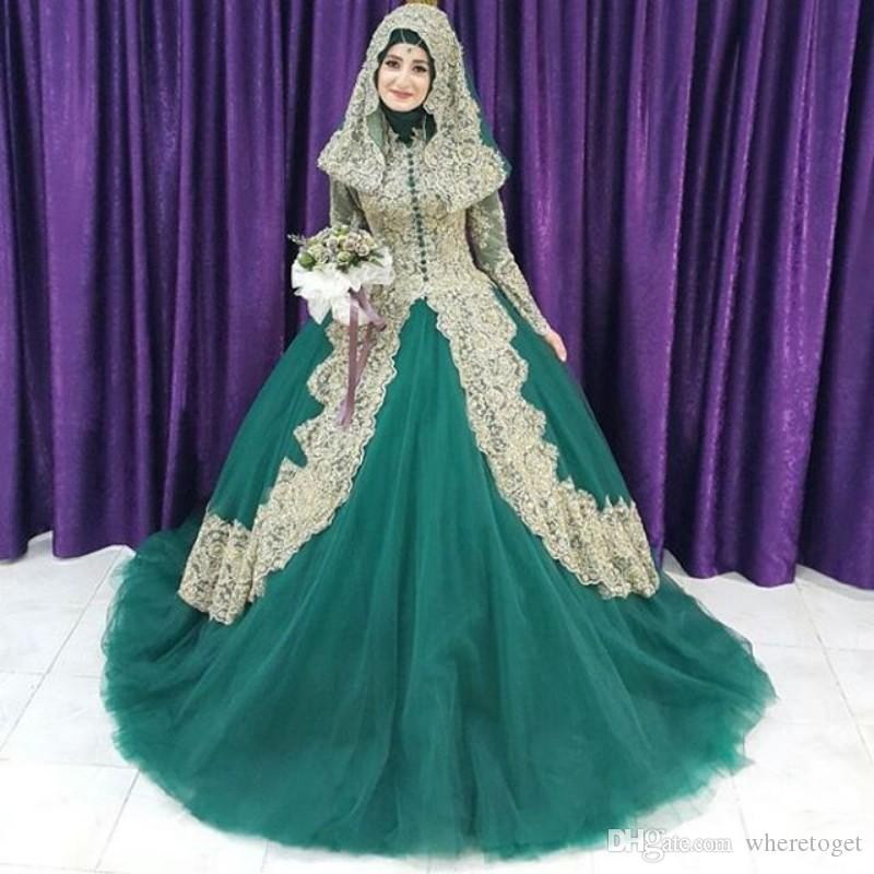 Vintage Applique Arabic Wedding Dresses 2016 With Hijab Dubai ...