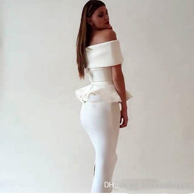Thé Blanc Longueur Robes De Cocktail 2017 Sexy Épaule D'épaule Satin Volants Robe De Bal Sirène Arabe Dubai Robes De Soirée