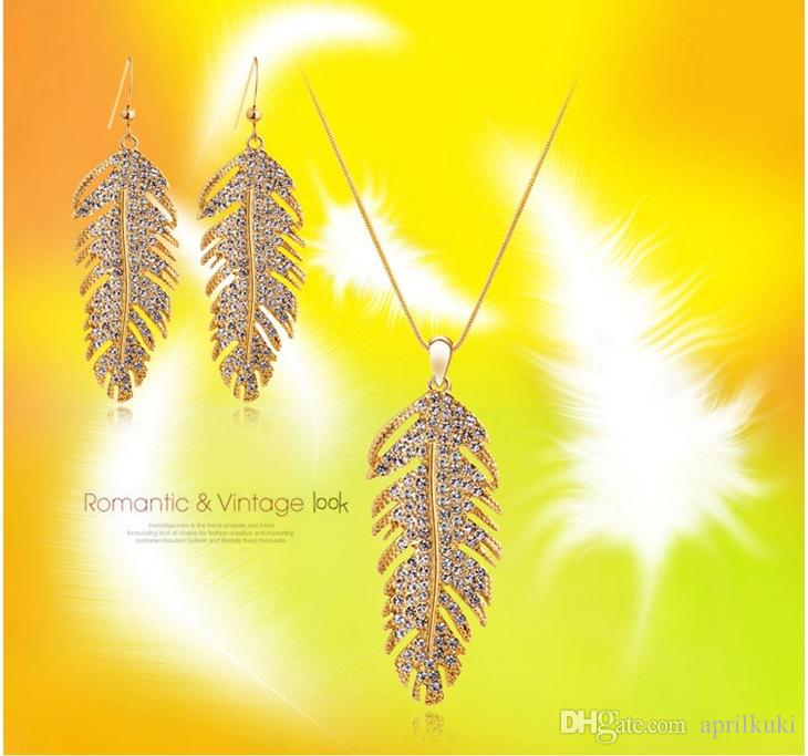 الحب للأبد 2016 أحدث 18 كيلو الذهب والفضة الحب أجنحة انخفاض الأقراط الفاخرة الزفاف الأزياء الكورية ريشة المجوهرات للنساء