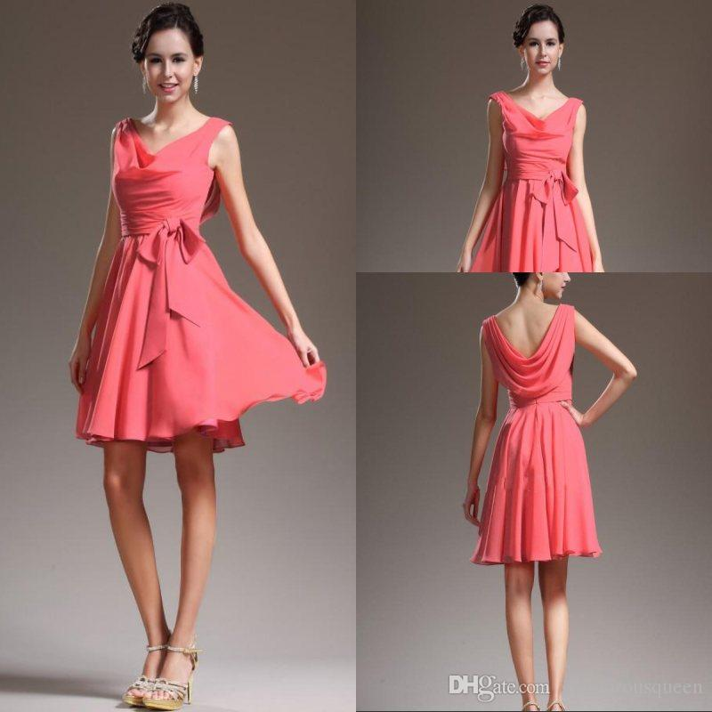 c28ccfde95 Best Selling Cheap Coral Short Chiffon Bridesmaid Dress Party Gown Aline  Short Party Dress Custom Made Free Shipping