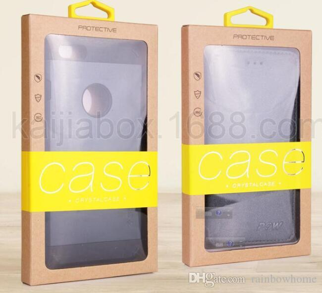 Kraft Brown Paper Retail Box Packaging boxes with PVC Window Pouch Case Box Package Bag for phone case iPhone X 8 7 6S Plus Samsung S7 Edge