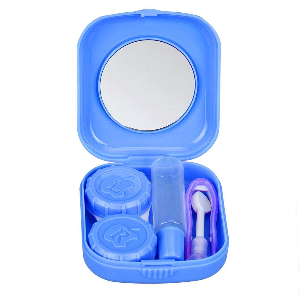 New Plastic Portable Mini Contact Lens Case Outdoor Travel Contact Lens Holder Container With Mirror Easy Carry For Eyes Care