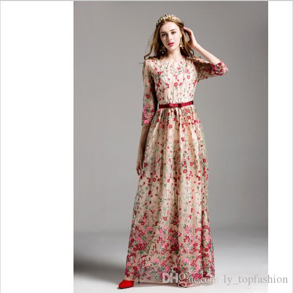 e5ac016bd31 2019 Luxury New Arrival 2017 Women S O Neck 3 4 Sleeves Embroidery Elegant Floral  Maxi Runway Dresses In From Ly topfashion