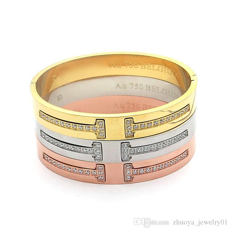 Wholesale jewelry fashion bracelet with diamond double letter T rose gold and diamond bracelet Ms. all-match letter