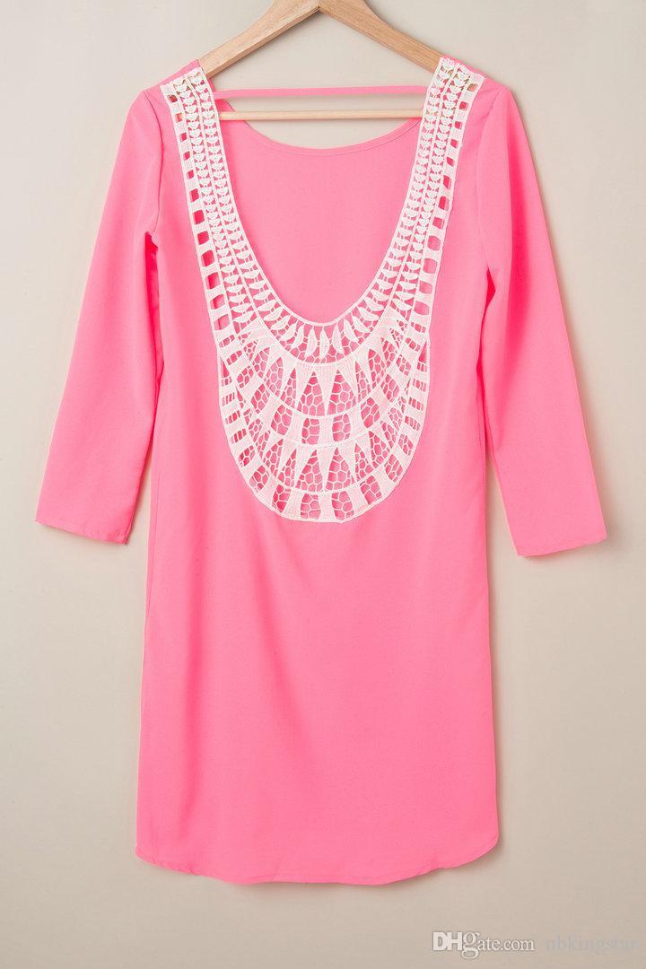 Yeni Seksi Kadınlar Şifon Dantel Elbiseler Lady Katı Renk Hollow Uzun Kollu Elbise S-XXL Ücretsiz kargo