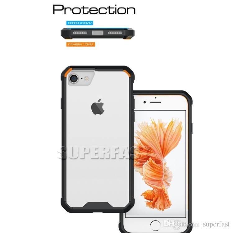 Hibrid Darbeye Akrilik Kılıf iphone XS XR 8 7 Artı Sert plastik + Yumuşak TPU Temizle Kristal Jel Cilt Kapak Için Samsung S9 S8 Artı J3 2017