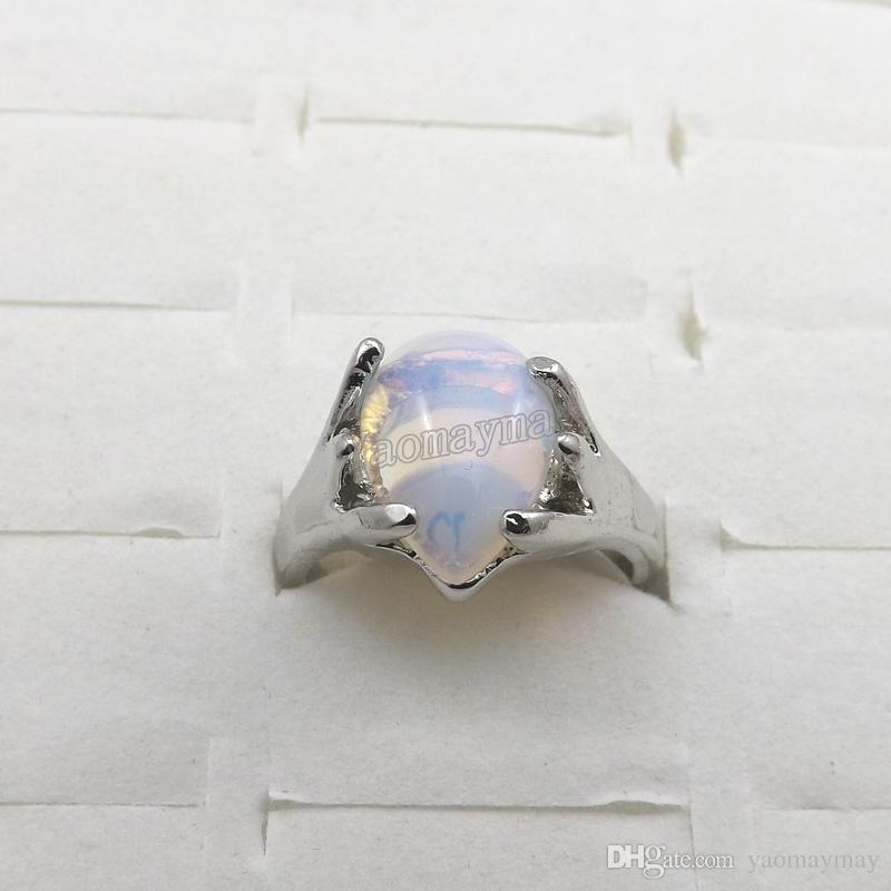 Anillos de piedras preciosas de ópalo natural joyería de moda anillo de mujer Bague envío gratis