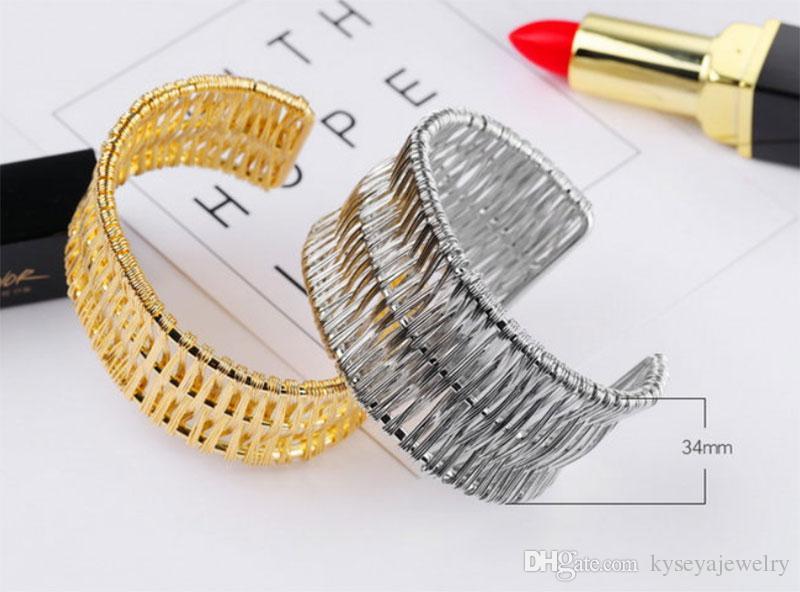 bracelet en or 18K de nouvelle conception en acier inoxydable bracelet, bracelet d'ouverture belle et élégante, bracelet en acier de remontage de fil