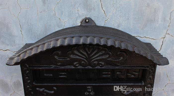 Cast Aluminum Iron Mailbox Wall Mount Garden Decoration Flower Embossed Trim Black Metal Mail Post Letters Box Postbox for Home Office Patio Vintage Lockable