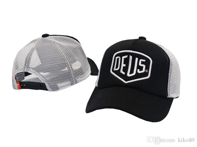 Nowy Deus Ex Machina Baylands Trucker Snapback Cap czarne motocykle Mesh Baseball Kapelusz Sport Luksus Październik Koszykówka Regulowana kość