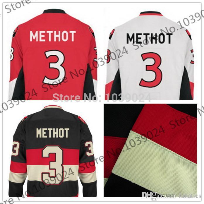 2016 Custom 3 Marc Methot Jersey Ice Hockey Black Alternate Home Red ... 136231f8c