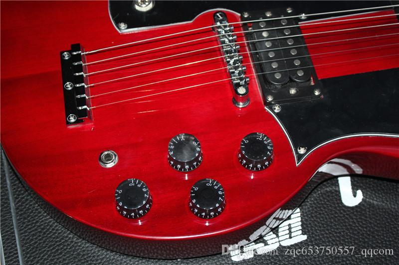 Two-neck 12-string and 6-string Electric Guitar,Claret-red Body,Black Pickguard and with a Rectangular Hard Case