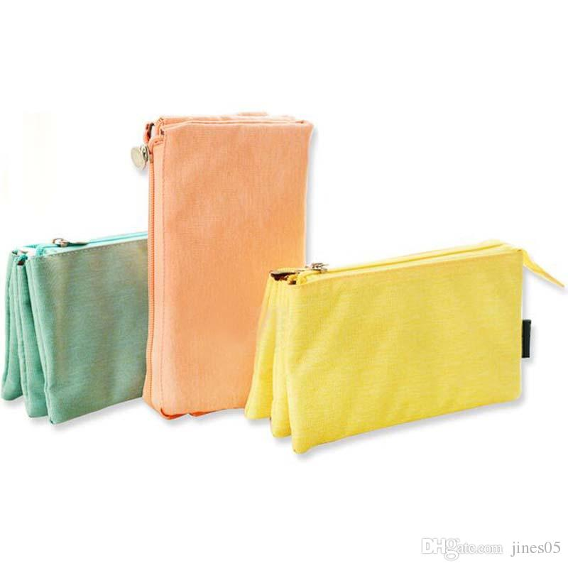 Brief Candy Color Pencil Pen Bags Case Multi-Functional Three Layers Canvas Large Capacity Canvas Stationery Makeup Storage Bag