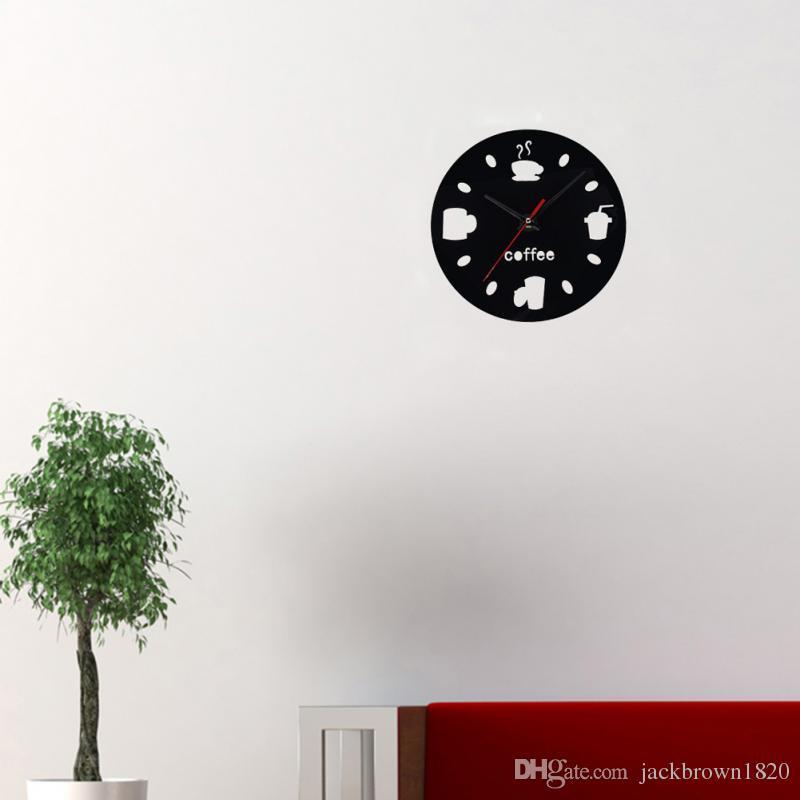DIY Wanduhren Modern Design Kaffee Cola Cup Spiegel Wanduhren Home  Wohnzimmer Dekor Uhr