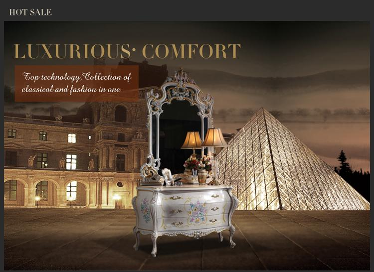 European Baroque classic furniture -French royalty classic bedroom furniture - cracking paint dressing table and mirror