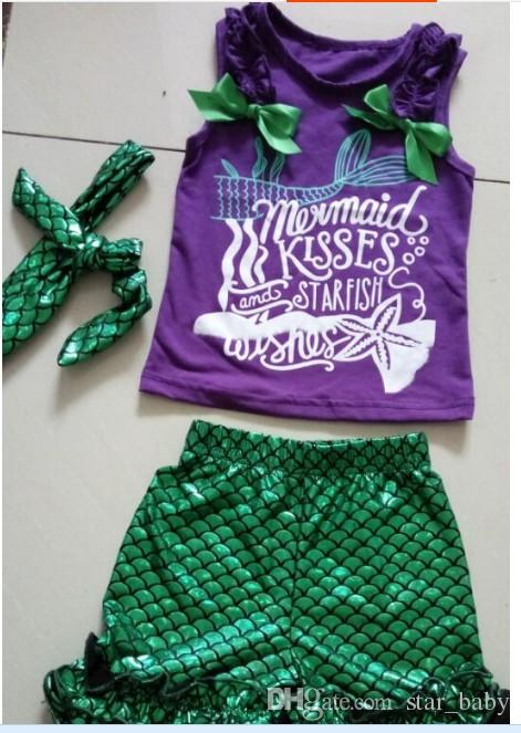 2016 Girls Infant Mermaid Kisses Starfish Wishes Boutique Set Starfish Wishes Outfits with Matching Headband K7592