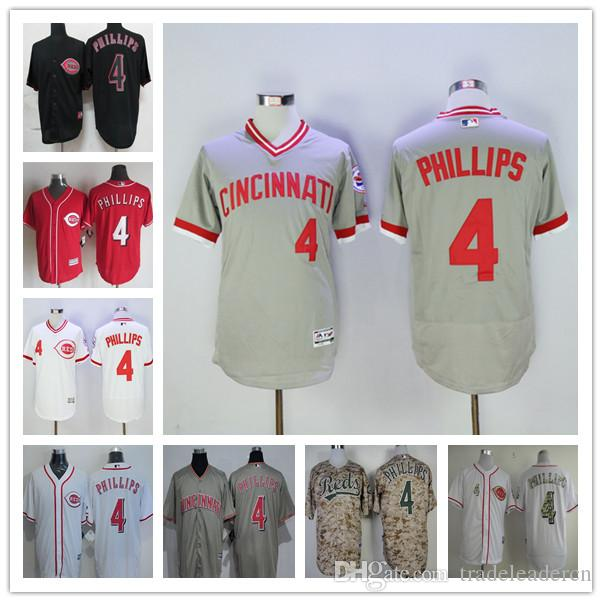 2017 new cincinnati reds 4 brandon phillips mens baseball jerseys white red gray black for sale