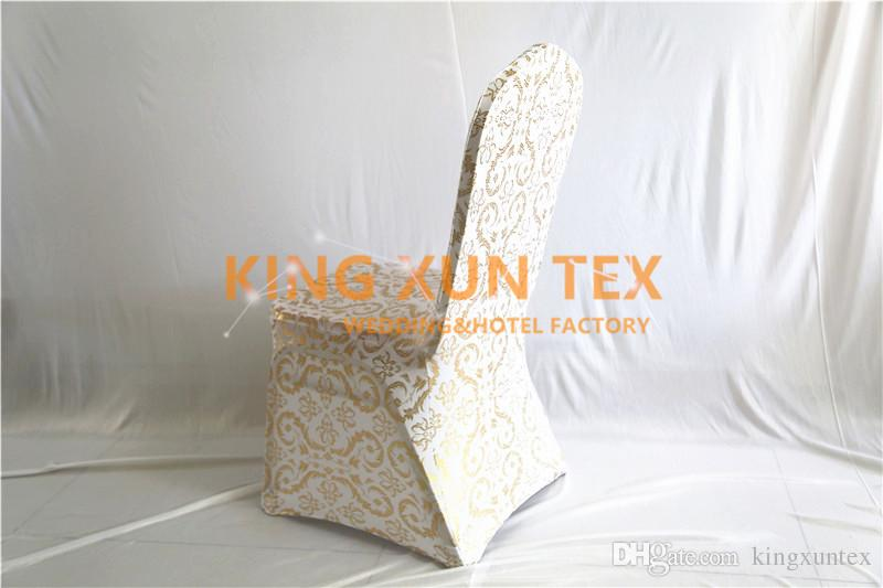 New Design Gold Bronzing Coated Lycra Spandex Chair Cover For Wedding Banquet Event Decoration