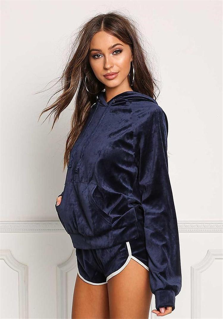 zweiteilige Set Herbst Winter Kapuzen Velvet Velour Anzug Shorts Fitness Trainingsanzug glänzende Outfits 2 Stück Set Frauen DY171010