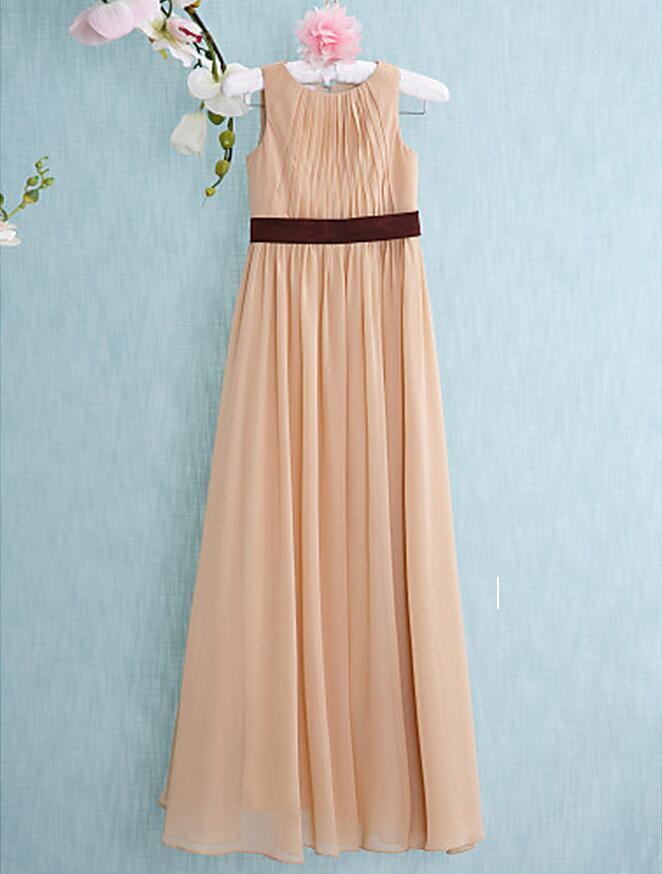 Nach Maß Champagner Lange Junior Brautjungfernkleider Jewel A Line Plissee Taille Mit Schärpen Günstige Formale Party Abendkleid